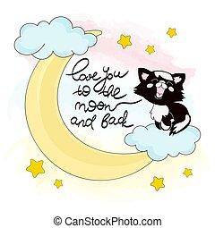 buono, set, gattino, illustrazione, luna, vettore, animale, notte, cartone animato