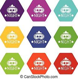 buono, set, icone, vettore, notte, 9