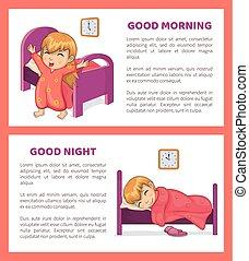 buono, set, illustrazione, mattina, vettore, notte