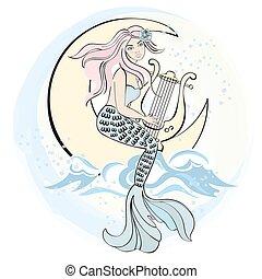 buono, set, illustrazione, vettore, sonno, notte, canto, sirena