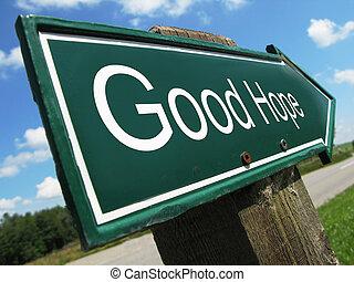 buono, speranza, segno strada