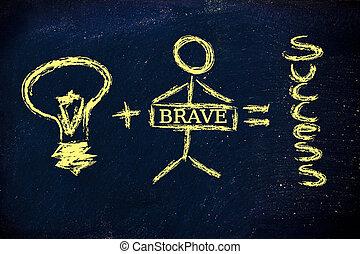 buono, successo, idea, uguale, coraggioso, più, investitore