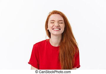 buono, successo, lei, tripudio, positivo, esposizione, detenere, gentile, donna, emotions., femmina, sorriso, bello, smile., sincero, umore