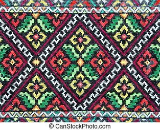 buono, ucraino, ornamento, pattern., ricamato, etnico, croce...