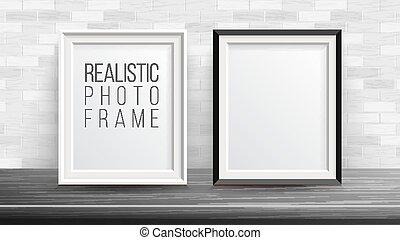 buono, vector., parete, cornice foto, fondo., set, fondo, presentations., interno, mattone, 3d, tuo, illustration.