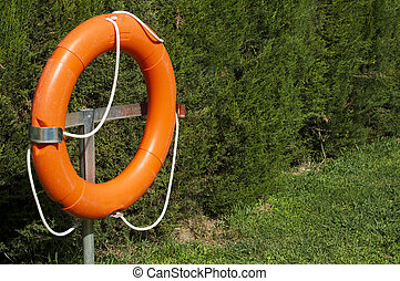 Buoy and green fence