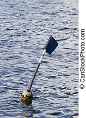 Buoy flag in the sea
