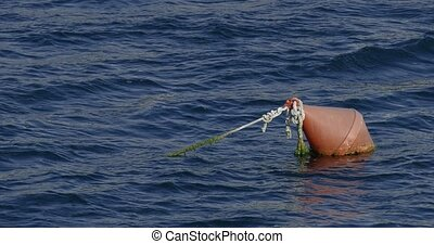 Buoy floating on the sea - Orange buoy floating on the sea...