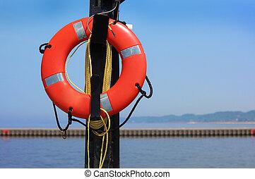 Buoyant - Bouyant foam lifesaving ring by the lakeshore