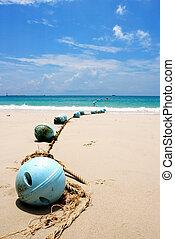 Buoys at sand beach, Samed island,Thailand