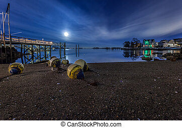 Buoys On Shore By Dock Under Blue Moon Lit Sky