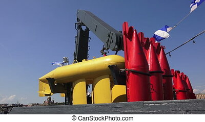 Buoys to indicate underwater mines.