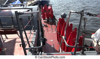 Buoys to indicate underwater mines. Shot in 4K (ultra-high...