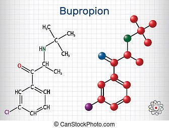 Bupropion, C13H18ClNO molecule. It is used for the treatment...