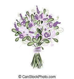 buquê floral, desenho, seu