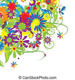 buquê floral, ilustração, verão