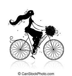 buquê floral, menina, ciclismo