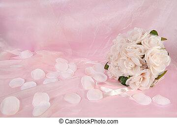 buquê floral, nupcial, fundo, casório
