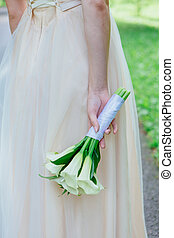 buquê noiva, calla, flores brancas, hands.