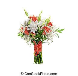 buquê nupcial, branco, e, flores côr-de-rosa