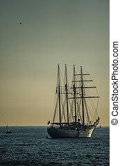 buque, escuela, esmeralda