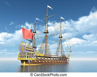 buque insignia, francés, sirene, la