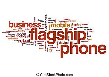 buque insignia, teléfono, concepto, palabra, nube