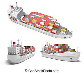 buquede carga, con, contenedores, aislado
