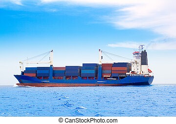 buquede carga, con, contenedores, en, dep, azul, mar