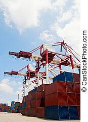 buquede carga, contenedor, descargar