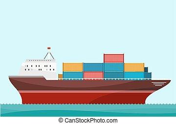 buquede carga, contenedores, envío
