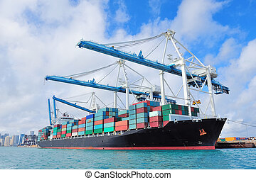 buquede carga, en, miami, puerto