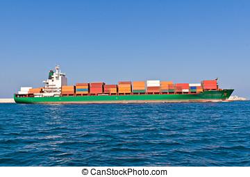 buquede carga, salida, el, puerto