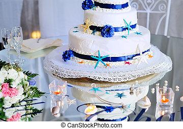 buquet, bolo, stemware, casório