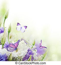 buquet, borboleta, cor-de-rosa, branca, nupcial, flores
