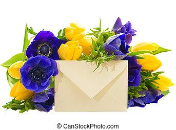 buquet, cartão, flores, presente, coloridos