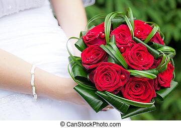 buquet, casório, noiva, mãos