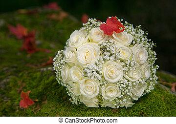 buquet, casório, nupcial, folha outono