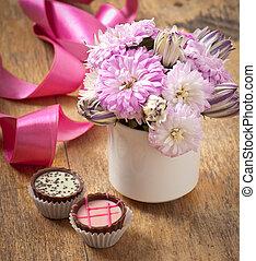 buquet, chocolates, flor, aster