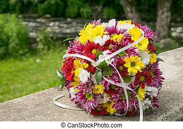 buquet, chrysanthemums, nupcial