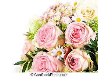 buquet, cor-de-rosa, flowers., rosas