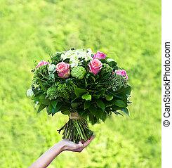 buquet, cor-de-rosa, flowers., roses.