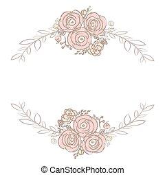buquet, cute, flor, cartão, laurel