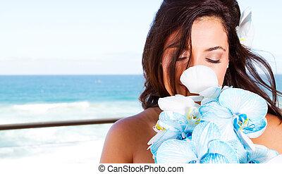 buquet, cute, noiva, jovem, cheirando