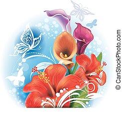 buquet, de, vermelho, hibisco, e, calla, flores