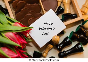 buquet, de, vermelho, tulips, chocolates, em, um, forma, de, um, coração, e, xadrez, com, tag, feliz, dia valentine