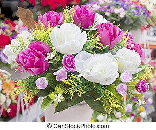 buquet, decoração, arranjar, flores, lar