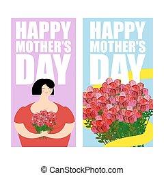 buquet, encantador, cartazes, lote, mães, rosas, saudação, mulher, dia, feriado, flores, amarela, gift., ribbon., cobrança, set., grande, cartão, vermelho, feliz