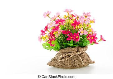 buquet, flores brancas, isolado