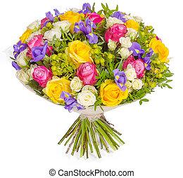 buquet, flores brancas, isolado, fundo